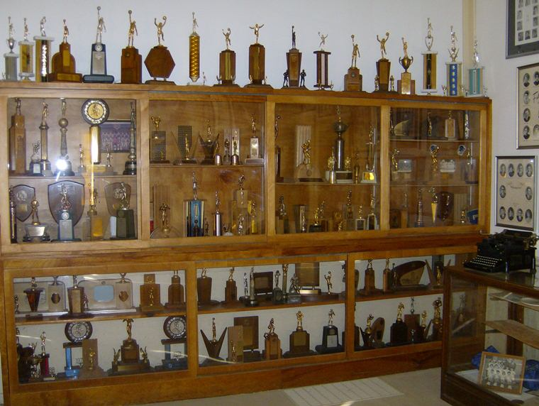 Trophies displayed in the Rosebud Museum